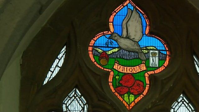 Stained glass window in St Margaret's Church in Rainham