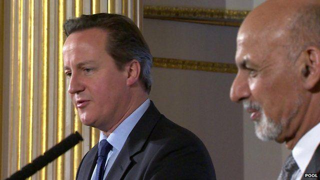 David Cameron (l) Ashraf Ghani (r)