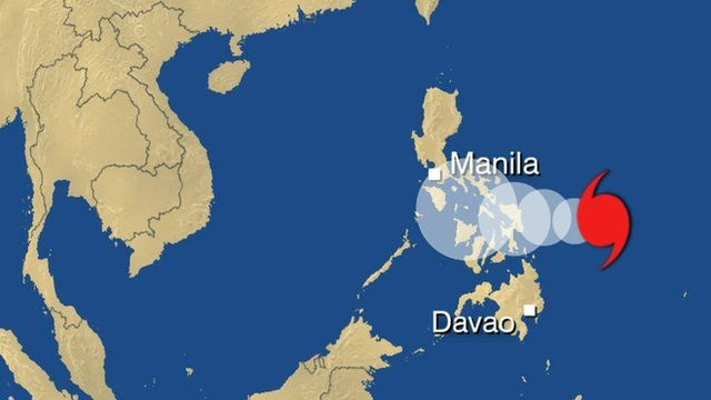 Weather map showing predicted path of Typhoon Hagupit