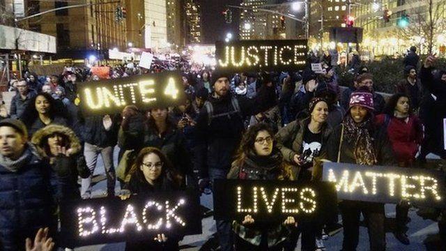 Protesters in New York, 4 December 2014