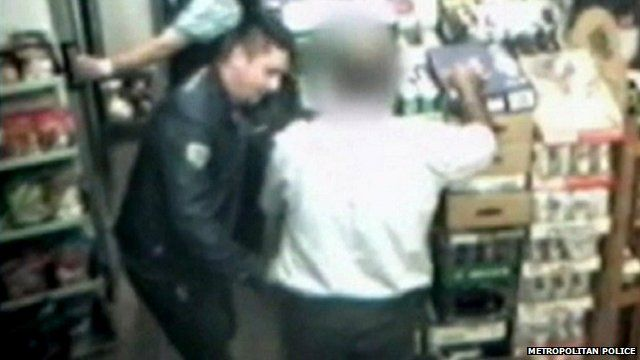 The alleged shoplifter is caught on the shop's CCTV