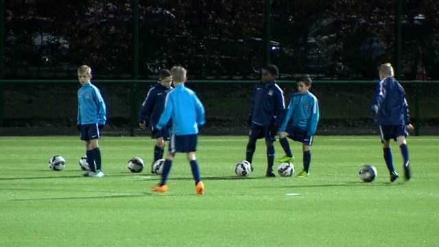 Young footballers at the Manchester Academy