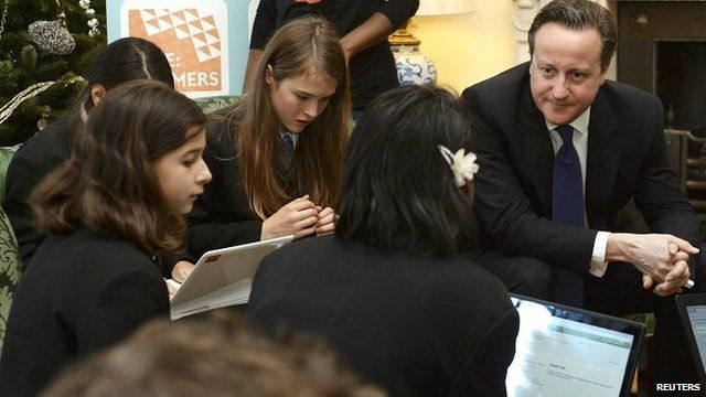 Prime Minister David Cameron with computer coding students