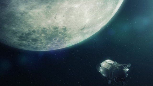 This animation shows how scientists envisage the lander working on the moon