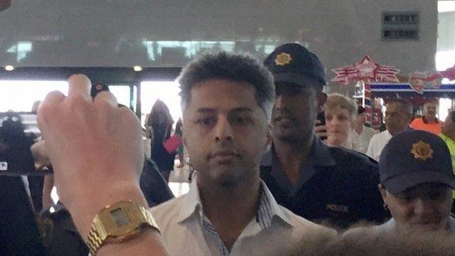Shrien Dewani at Cape Town airport