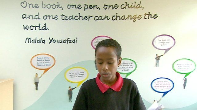 A pupil at Nelson Primary School