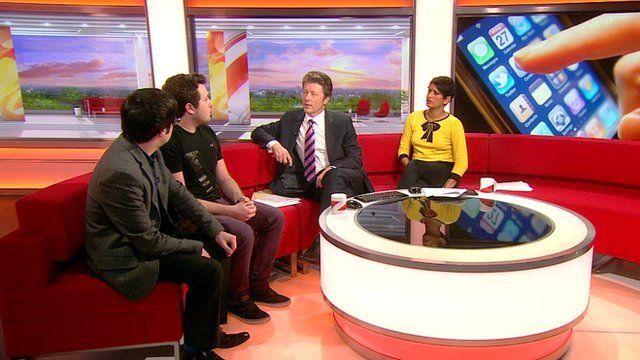 Mattia Busuttil (2nd left) with Charlie and Naga on Breakfast sofa