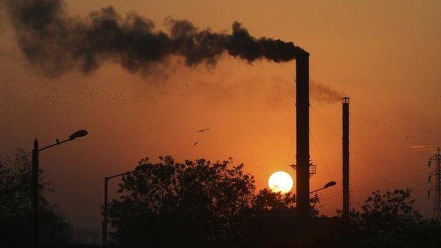 Smoke from factory in Ahmadabad, India, Dec 2014