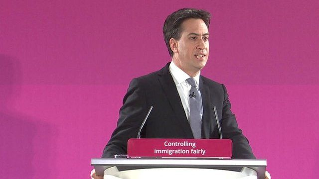 Labour party leader Ed Miliband giving a speech on immigration