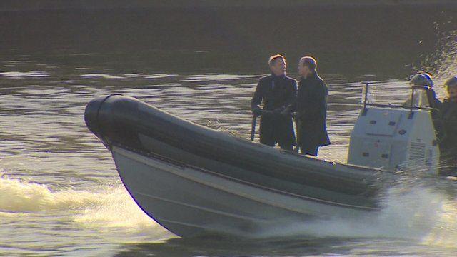 Scene being filmed for the next James Bond