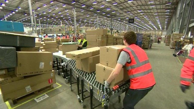 Boxes in an Amazon warehouse