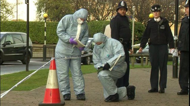 Forensic teams and police at the crime scene