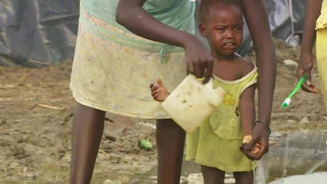A child on a South Sudan refugee camp