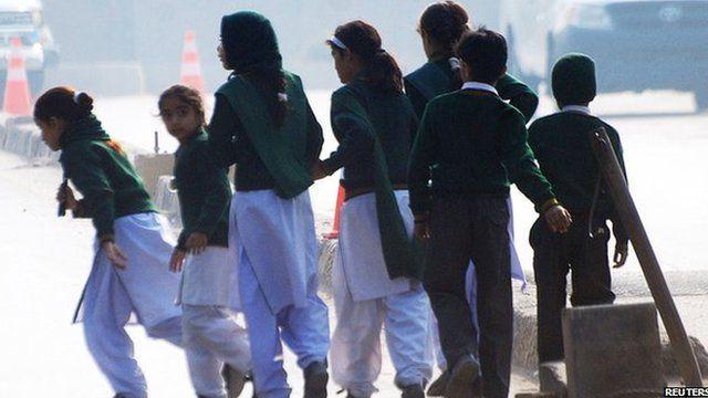 Children fleeing the school