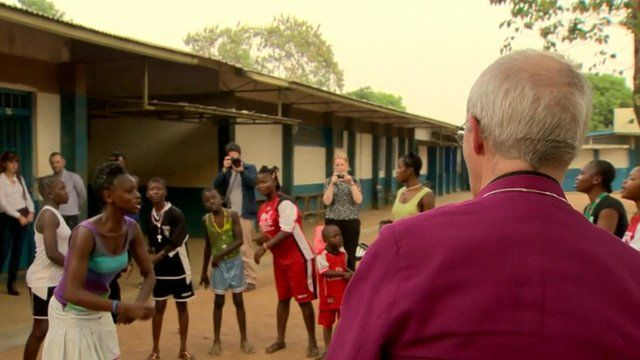 Justin Welby with some people who have survived Ebola, or lost relatives to the disease