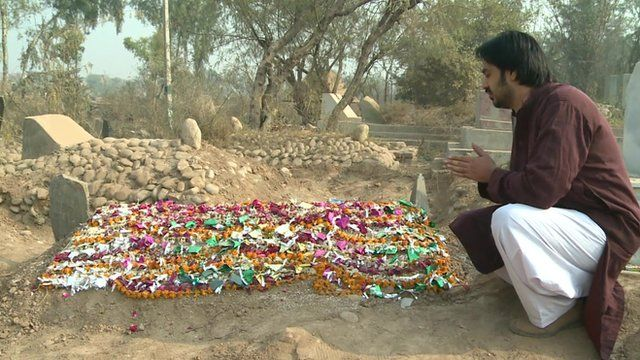 Grave of teacher Sahar Afshan, killed in the Pakistan school attack
