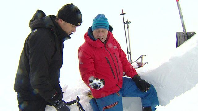 Mark Diggins shows how he test the snow