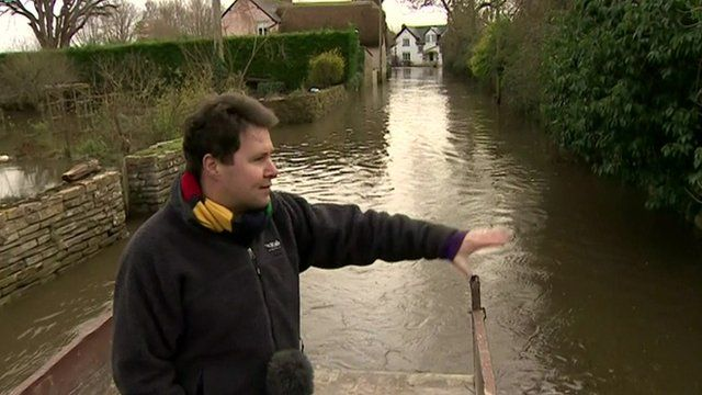 Jon Kay in Thorney during the floods