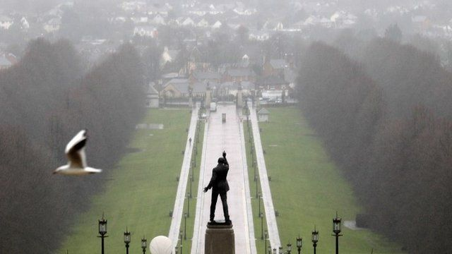 """A statue of 1920""""s Ulster Unionist politician Edward Carson overlooks the grounds of Stormont estate, near Belfast Tuesday, Dec. 23, 2014"""