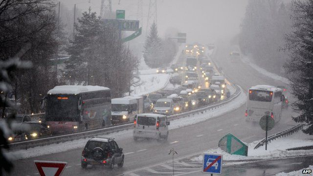 Traffic bound for French Alpine ski resorts on 28 December 2014