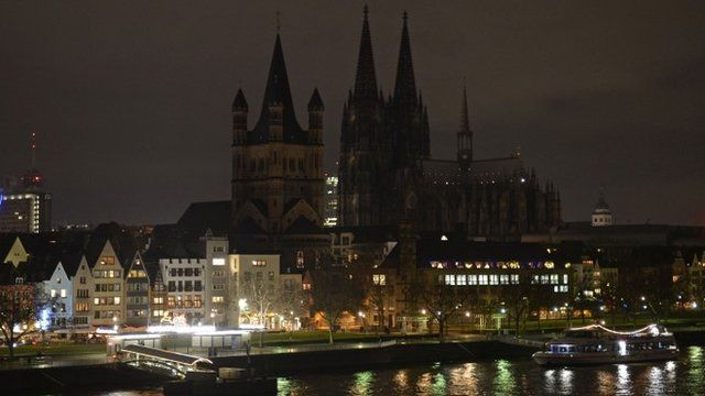 "The illumination of the world famous Cologne cathedral is turned off during a rally called ""Patriotic Europeans against the Islamisation of the West"""
