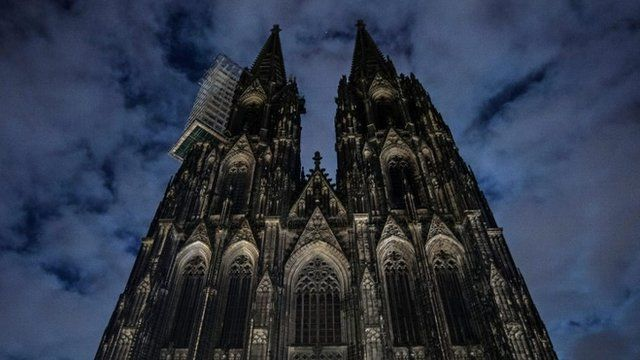 The lighting of the Cologne Cathedral are switched off to make a statement against racism