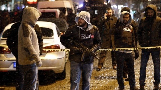 Turkish forensic officers inspect the area after an attack by a suicide bomber in front of a police station at Ottoman era near Hagia Sophia Museum in Istanbul, Turkey, 06 January 2015