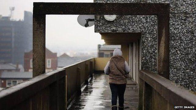 woman on estate in Rochdale
