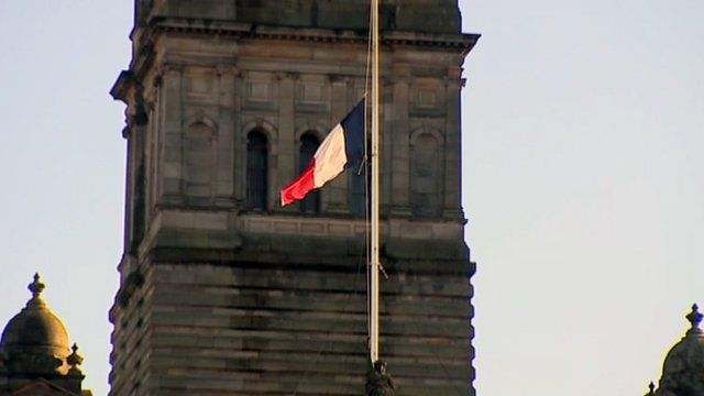 French flag at half mast over Glasgow City Chambers
