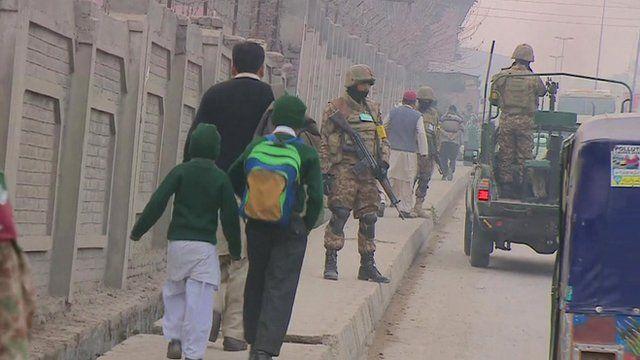 Pupils walking to school in Peshawar