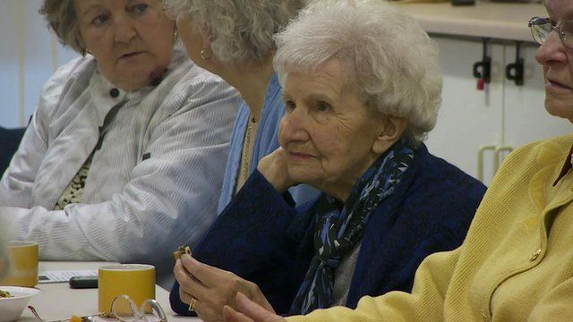 An elderly woman at a care home in Leeds