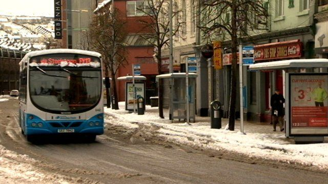 Public transport in Derry was suspended for a time because of heavy snowfall, as Keiron Tourish reports.