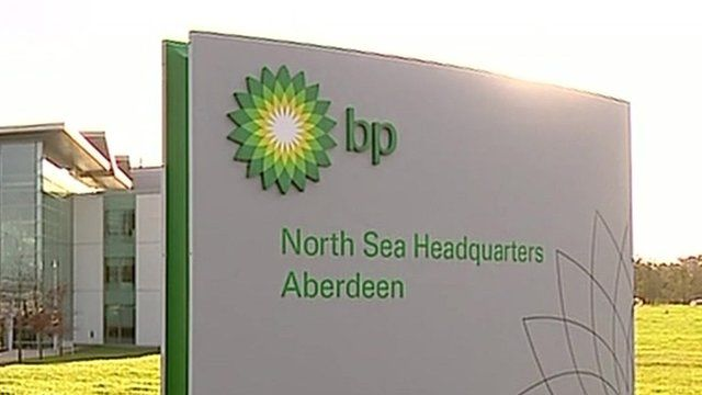 Sign outside BP North Sea Headquarters in Aberdeen