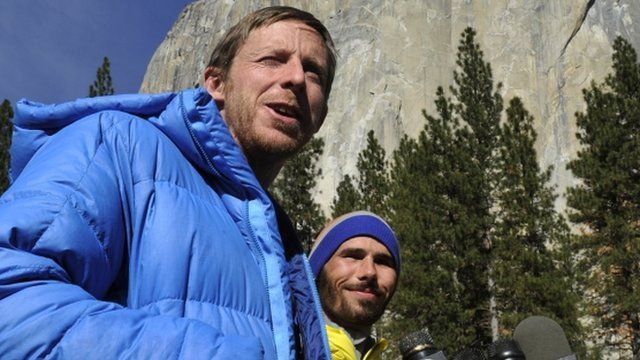 Climbers Tommy Caldwell, left, and Kevin Jorgeson, right, speak during a press conference in Yosemite Valley near the base of El Capitan