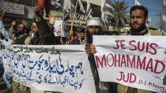 Protesters say depicting the Prophet Muhammad is offensive to Muslims