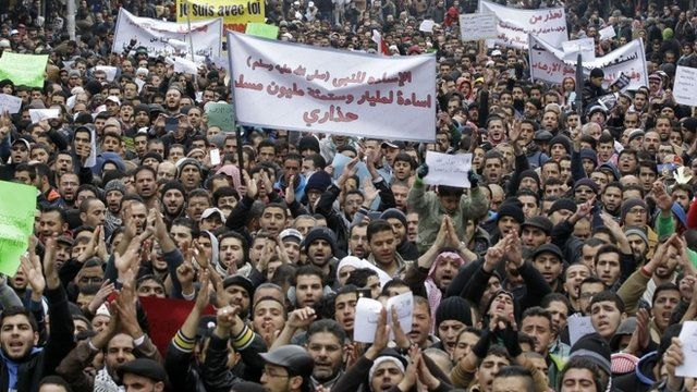 Jordanians take part in a demonstration against French satirical weekly Charlie Hebdo