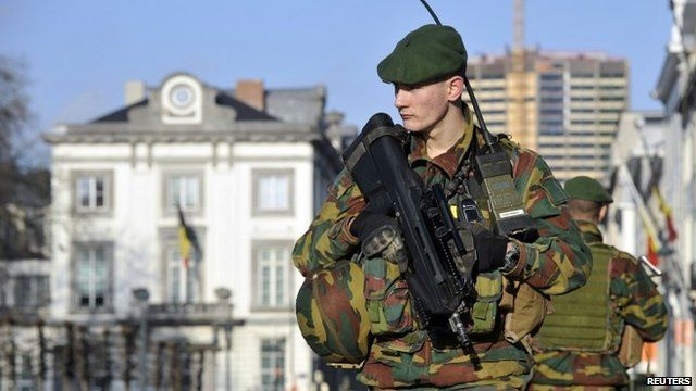 Belgian soldier guarding US embassy