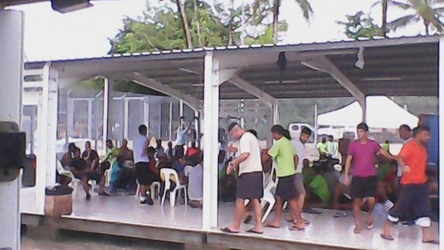 Asylum seekers inside the Manus Island detention centre, Papua New Guinea, January 13 2015