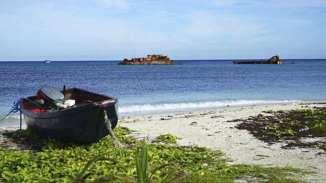 Boat on beach in South China Sea