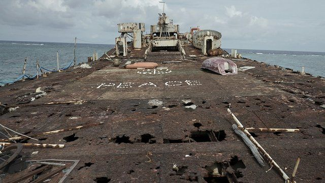 Rusting ship in the South China Sea