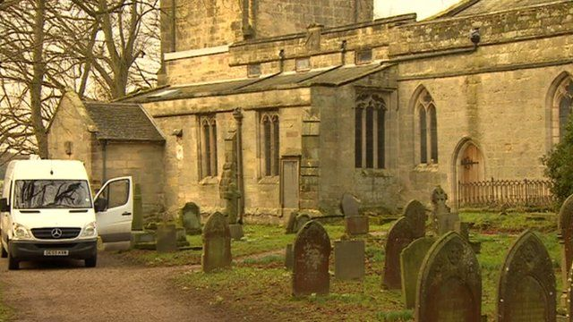 The woman was taken to hospital with an injury to her hip after the accident at All Saints Church in Brailsford.