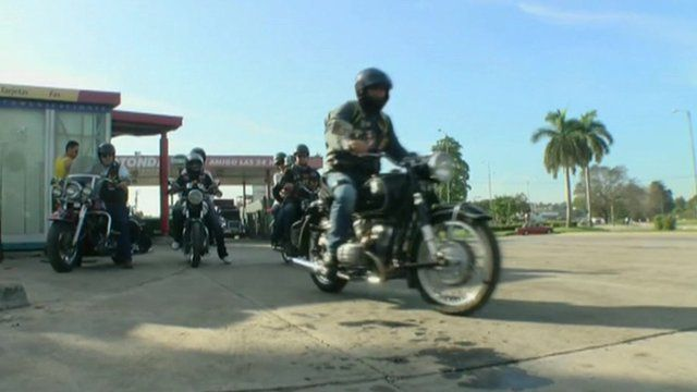 Motorcycle group in Cuba