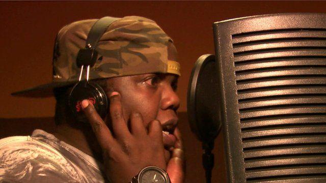 Ambwene Yessayah rapping Bongo Flava in the studio