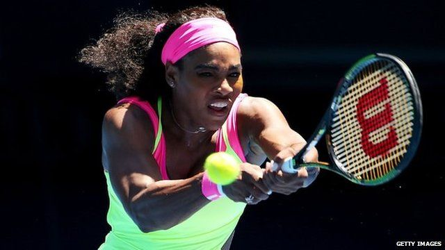 Serena Williams in action at the 2015 Australian Open