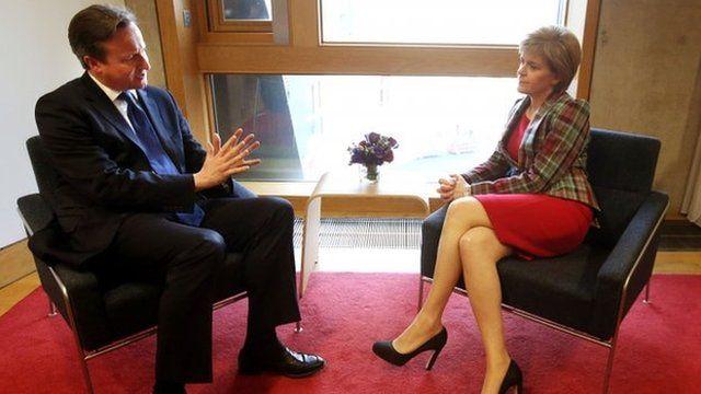 David Cameron and Nicola Sturgeon have met at the Scottish Parliament