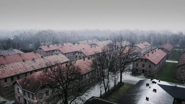 Shot of Auschwitz from hexacopter