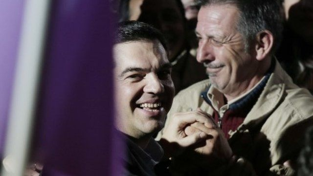 Syriza's Alexis Tsipras arrives at a party
