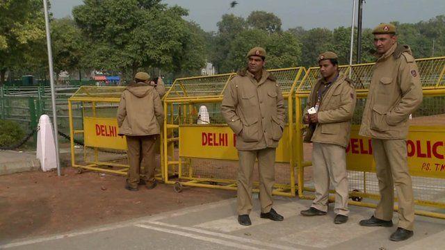 Indian police in Delhi