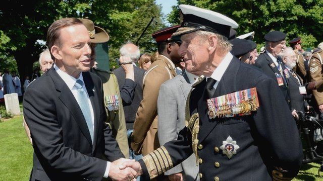 File photo dated 06/06/14 of the Duke of Edinburgh, Prince Philip meeting Australian Prime Minister Tony Abbott