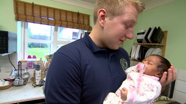 First responder Mike Hardy helped newborn baby Velvitchia to start breathing again